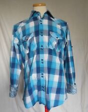 Au Noir Mens Shirt Sz 4 Large Plaids & Checks Blue White Gray Contrast Flip Cuff