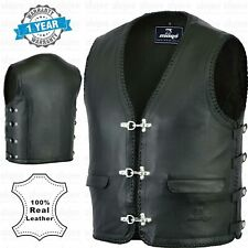 Mens Fishhook Buckles Full Leather Lining Motorcycle Vest Premium Leather