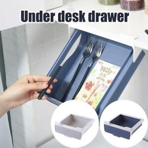 Self Adhesive Under Desks Drawer Hidden Organizer Storages Box Holder Stationery