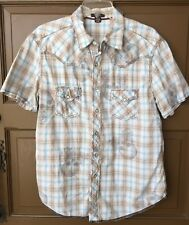 Arizona Boys Shirt Casual Pearl Snap Skull White Blue Brown Size Large