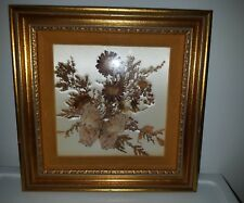 Vtg FRAMED dried flower collage butterfly MILDRED ROBERTS Salvia MUM Marigold