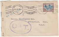 # 1943 SOUTH AFRICA CENSORED TO USA 2/6d STAMP & O A T ONWARD AIR TRANSMISSION