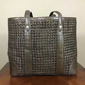 Frye Melissa Italian Woven Leather Shopper Tote Shoulder Bag Handbag Dark Taupe