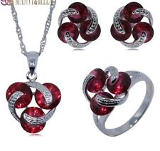 Stunning 925 Silver Geometric Red Garnet Necklace Earrings set Ring Size 7 N