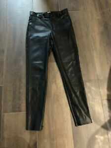 Zara Leather  Look Trousers Size M