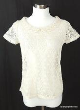 Cream Crochet Lace Feminine Romantic Blouse Top Size S See Through