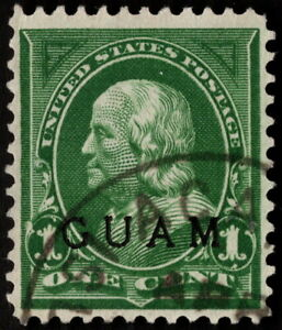 Guam - 1899 - 1 Cent Green Benjamin Franklin Overprinted Issue 1 w Guam CDS Nice