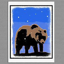 6 Christmas Cards Grizzly Bear Winter Graphics Snow Art Note Greeting