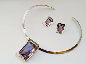 Quality Modern Sterling Silve & Amethyst Choker Necklace & Earrings