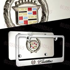 3D CADILLAC Stainless Steel License Plate Frame with Caps -2PCS Front & Back Set