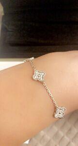 Van Cleef Arpels Sweet Alhambra Full Diamond Bracelet 6 Motif 18kt White Gold