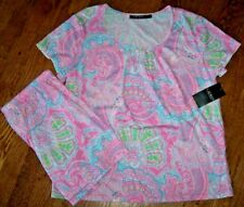 NWT Ralph Lauren PINK PAISLEY Jersey Knit Pajamas SHORTS/Top Set S Aqua/Green