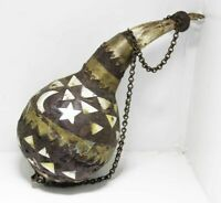 Vintage Wooden Gunpowder, Antique Ottoman Style Decorated Flask Seashell Inlay