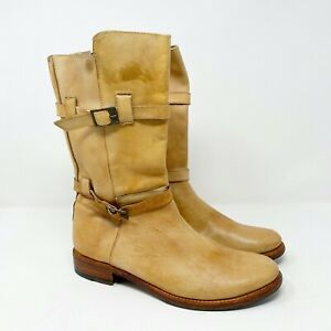 Bed Stu Cobbler Series Camel Leather Distressed Buckle Goodyear Welt Wmn Size 10