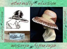 Vintage 50s Do 1920s WEBFLEX Beige Wide Brimmed Bonnet Sun Hat Goodwood Revival