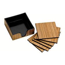 Set Of 6 Square Coasters Plastic Wood Veneer Drink Mug Coaster Mat and Holder