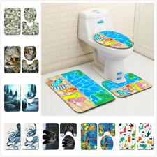 3 Pcs Flannel Animal Deer Bear Wolf Bathroom Rug Set Non-Slip Mat Toilet Cover
