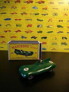 . Vintage Matchbox Lesney #41a  D Type Jaguar w/Box VNM