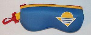 70s Vintage Retro Cloth Blue Zipper Sunglass Case Padded w/ Belt Loop Hook Beach