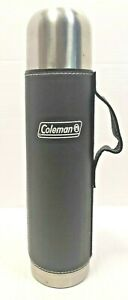 Coleman Stainless Steel 33 Oz Bottle With Leather Sheath Black
