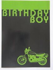 Brilliant Black & Green Motorbike Gloss Coated Blank Birthday Greeting Card