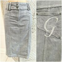 """GOLD BY GILES UK 10  """"G"""" MONOGRAME EMBROIDERED GREY DENIM PENCIL WIGGLE SKIRT"""