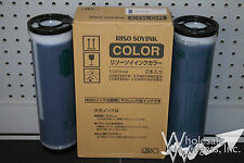 2 Genuine Riso S-4395 Federal Blue Ink Risograph OEM GR RC RA FR RN RP3700 3790
