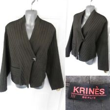 ❤ KRINES BERLIN Size 20 (lll) Grey Textured Button Fasten Jacket Pocket Detail