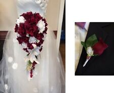 2pc Cascade Bridal Bouquet &Boutonniere.Burgundy WHITE Wedding Silk Flower