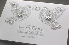 A5 GRANDE fatto a mano personalizzato COLOMBE congratulazioni per matrimonio biglietto