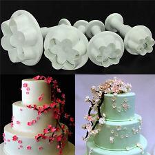 4PCS Plum Flower Icing Cutter Fondant Cake Sugar Craft Decorating Plunger Mould-
