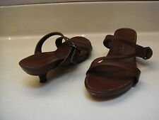 KENNETH COLE sz 6.5M Brown Leather Strappy Kitten Heel Sandals