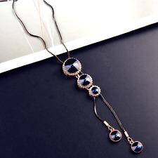 Blue pendant fringe long necklace UK seller