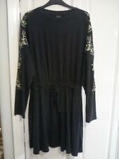 Topshop Tall Navy Floral Embroidered Dress - Size 12