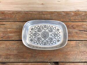 "Wilton Armetale Reggae Pattern Bread Tray Pewter 9 1/4"" x 6 1/2"""