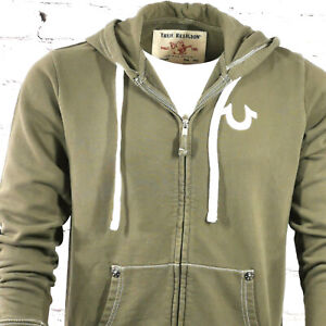 Mens True Religion Zip Hoodie Khaki Green Classic Fit Hooded Jacket size Small