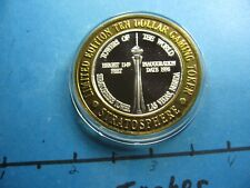 STRATOSPHERE TOWER LAS VEGAS CASINO 1996 RARE 999 SILVER $10 GAMING COIN #B