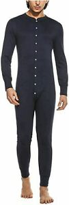 Hotouch Men's One Piece Pajama Long Thermal Union Suit, Navy Blue, Size Large