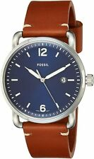 Fossil Men's The Commuter FS5325 42mm Blue Dial Leather Watch
