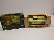 Lot of 2 Ertl Die cast metal truck banks NIB 1955 case pick up and Birthday...