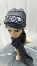 Ladies grey knitted set hat and scarf warm for Autumn/winter one size#