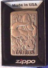 Vintage Zippo Brass Zodiac Taurus Barrett-Smythe Lighter Embossed Rare