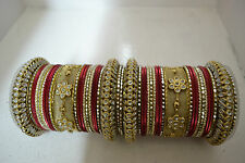 Gold Tone Maroon Churi Bridal Women Kada Bangle Bracelet Set Wedding Jewelry 2*6