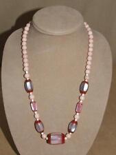 "VTG Pink Sponge Coral Ball & MOP Mother of Pearl Panel Barrel Bead Necklace 24"""