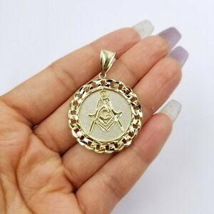 "10K Yellow Gold Masonic Mason Charm Pendant Miami Cuban Design Diamond Cut 1.5"""