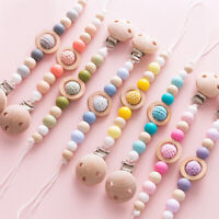 Safe Silicone Beads Wood Pacifier Chain Clip Baby Teething Dummy Soother Holder