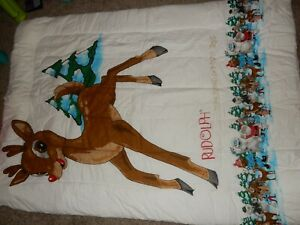 LN Twin RUDOLPH the RED NOSED REINDEER Santa Flannel Comforter Blanket Decor