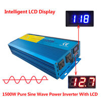 Double LED Pure Sine Wave Power Inverter 1500W/3000W Peak 12V To 110V Off Grid