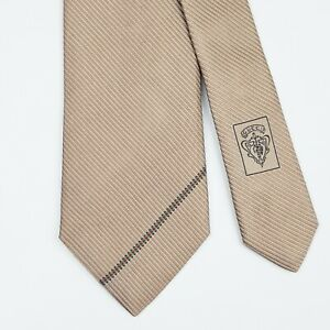 GUCCI TIE Striped in Beige Skinny Woven Silk Necktie