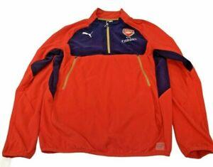Arsenal FC Puma Training Fleece Top Medium M Red Navy Blue Long Sleeve Football